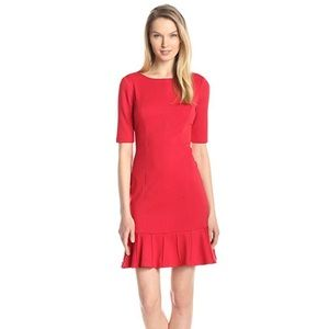 Ivanka Trump Ponte Ruffle Crimson Dress